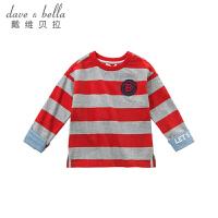 戴维贝拉kids童装春季新款中大男童条纹套头上衣DBK9079