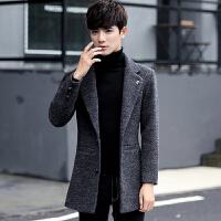 冬季韩版修身中长款加绒加厚妮子毛呢外套男西装领呢子大衣
