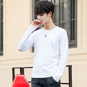 【限量抢购,好质量】长袖T恤男圆领宽松上衣服男士春秋装男装青年韩版潮流打底衫