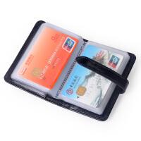 Yvonge韵歌卡包水晶牛皮名片包卡片包男女款油蜡真皮卡套卡夹抽带银行卡*包