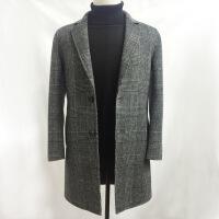 2018秋冬双面羊绒韩版时尚大衣风衣呢子外套中长格子毛呢羊毛男士9808