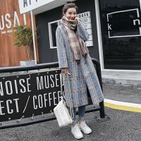朴衣尚 冬季好款毛呢外套中长款韩版宽松复古秋装女2018新款呢子流行格子大衣