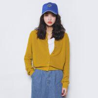 新女士外套秋季新款韩国女装宽松圆领针织衫女士开衫针织外套 均码