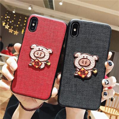可爱卡通刺绣福字小猪苹果x手机壳iphone7plus全包保护套xs max创意个性苹果8plus新款6splus情侣女款xr防摔