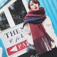 新品围巾女冬季韩版长款纯色学生百搭加厚双面英伦披肩软妹秋冬天围脖