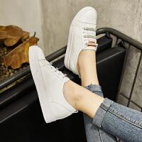 Galendar女子板鞋2017新款时尚百搭厚底增高小白鞋真皮平底镶钻休闲板鞋小码 MG8092