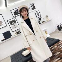 2018新秋天外套羊驼绒中长款双面呢大衣女毛呢外套羊绒大衣韩版显瘦冬季 白色