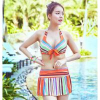 条纹女士泳衣蝴蝶结钢托聚拢 泳装 泳衣女分体比基尼裙式三件套 支持礼品卡