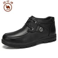 骆驼牌 头层皮休闲靴子圆头冬季潮流系带保暖男皮靴