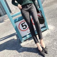高腰弹力加绒牛仔裤女长裤冬季新款韩版烟灰色加绒小脚铅笔裤女