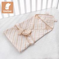 威尔贝鲁 新生儿用品包巾春夏宝宝彩棉三层纱包巾婴儿包被抱毯