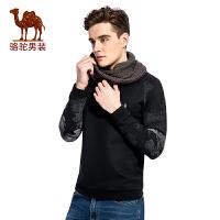 骆驼男装 2017秋季新款宽松套头休闲男士卫衣时尚保暖上衣男长袖