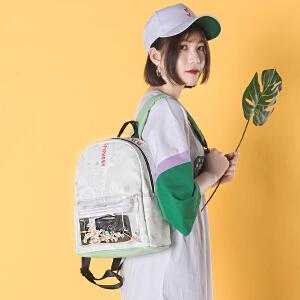 【下单立减50: 79】epiphqny重生2018新款韩版潮流时尚学生透明小清新迷你软皮双肩包
