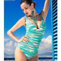 大V低鸡心 小胸聚拢泳衣女保守遮肚修身显瘦泳装性感连体三角温泉泳衣 支持礼品卡