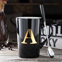 欧式陶瓷杯子带盖勺咖啡杯办公室水杯创意姓氏字母马克杯