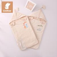 威尔贝鲁 纯棉襁褓婴儿包被新生儿保暖抱被宝宝包巾盖毯