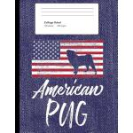 预订 American Pug: Blue Denim Look Pug Composition Journal No