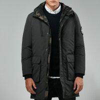 吉普JEEP冬装中长款可脱卸帽羽绒服男装1517防寒保暖羽绒衣外套 加厚