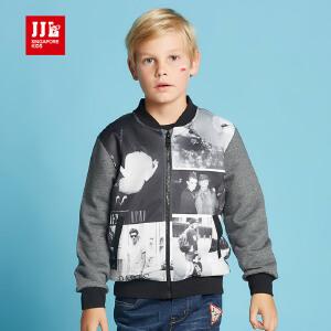 jjlkids季季乐童装儿童外套男童春秋款中大童时尚立领拉链长袖上衣BQW61161