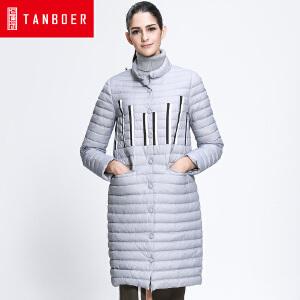 坦博尔冬季轻薄中长款羽绒服女印花单排扣韩版立领羽绒衣TB3618
