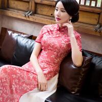 中国风旗袍连衣裙长款修身印花复古唐装宴会越南奥黛大摆裙女