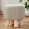 家逸 松木四腿换鞋凳 沙发凳小板凳小凳子矮凳圆凳子 座套可拆洗结实耐用