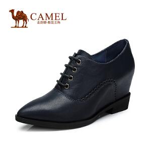 Camel骆驼女单鞋 尖头深口系带高跟牛皮女鞋