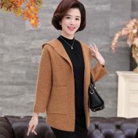 中年 秋天的外套中年妈妈秋装外套韩版短款40岁50中老年女装秋冬装时尚羊绒大衣潮 图片色