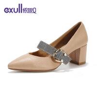 依思q新款chic复古金属扣尖头软皮低跟单鞋女鞋19150187