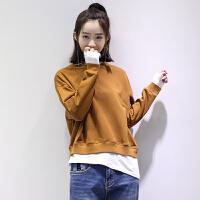 宽松假两件长袖拼色套头卫衣女秋季韩版学生简约打底衫上衣