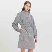 Lagogo2019秋季新款不规则格子连衣裙女长袖复古中长裙ICLL448C31