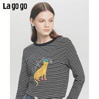 Lagogo/拉谷谷2019新款撞色刺绣条纹显瘦T恤女ICTT528B07