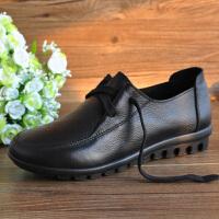 妈妈鞋软底单鞋中老年春秋舒适工作鞋女平底黑色防滑大码皮鞋