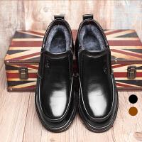 宜驰 EGCHI 商务休闲男士套脚加绒棉保暖商务休闲皮鞋子男 K1690