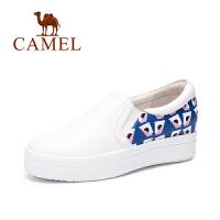 Camel/骆驼女鞋  时尚休闲单鞋  印花内增高鞋