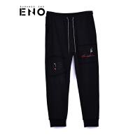 BURANDOENO新品男士卫裤个性刺绣印花小脚休闲裤E18W61MKP077
