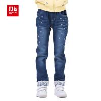 季季乐童装儿童韩版修身时尚蕾丝长裤舒适可爱女孩子休闲牛仔裤GCK51111