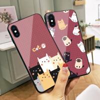 多只猫咪苹果7plus手机壳x新款玻璃xs max可爱卡通iphone6plus全包7创意情侣款8网红女款xr个性潮男