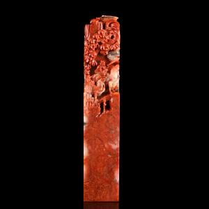 《鸡血红满载而归正方章》寿山石取巧全手工精雕寓意吉祥适合创作篆刻