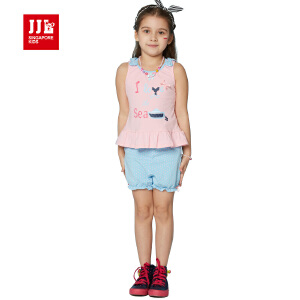 jjlkids季季乐童装女童夏季舒适清凉女童套装中小童薄款