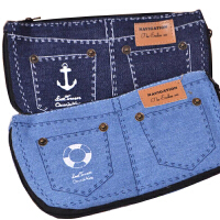 笔袋 可爱创意 清新 帆布 航海 短裤笔袋