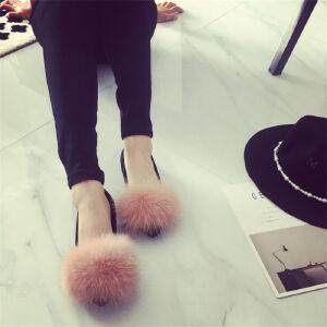 O'SHELL欧希尔新品105-188-1-1韩版磨砂绒面平底鞋女士狐狸毛懒人鞋