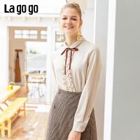 Lagogo2019冬季淑女新款娃娃领雪纺长袖衬衫女雪纺上衣ICCC439G68
