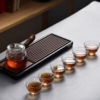 家用简约泡茶器透明茶杯子侧把茶壶整套玻璃功夫茶具套装
