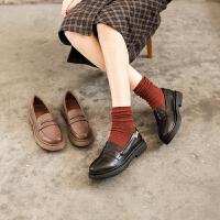 玛菲玛图乐福鞋女2020春季新款真皮女鞋洛丽塔学生鞋女厚底中跟浅口女单鞋688-34DL
