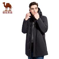 骆驼男装 冬季新款连帽纯色无弹男青年休闲中长款棉服棉衣
