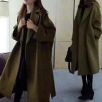 新女大衣2018新款女装秋冬季加厚大码韩版呢子大衣宽松中长款毛呢外套