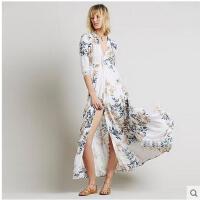 花色长开衫雪纺沙滩裙连衣裙长款中袖衬衫比基尼罩衫波西米亚沙滩可礼品卡支付