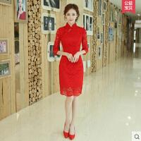 新款 修身 中式结婚小礼服女红色旗袍敬酒服新娘短款显瘦