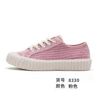 帆布鞋女鞋秋季饼干鞋时尚潮流糖果色灯芯绒休闲鞋8330 粉红色 粉色